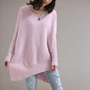 米可可  M1605文艺大码慵懒不对称拼接V领含羊毛女士毛衣 18秋新