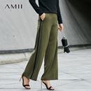 Amii[极简主义]条纹印花休闲长裤2017秋装新款简洁宽?#34923;?#33151;裤