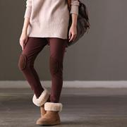 米可可  A2013 通勤韩版百搭显瘦膝盖贴布加绒加厚打底裤女冬