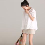 米可可 C525文艺大码圆领系带木耳边抽褶纯棉短袖衬衫女 2018夏