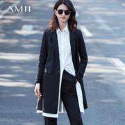 Amii[极简主义]2017春装新品修身显瘦BF风西装外套女11761438