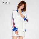 Amii[极简主义]棒球领外套2017秋装新款休闲街头风撞色条纹上衣