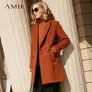 Amii[极简主义]现代感 双排扣毛呢外套女 2017冬装新修身开衩大衣