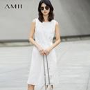 Amii[极简主义]2017夏装新款直筒抽绳插袋开衩无袖连衣裙11762110