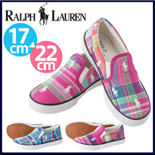 Polo Ralph Lauren的马球拉尔夫LAUR连接罗哈博重复格子呢Rarufuro仁儿童运动鞋