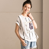 新品包邮 T7108A 韩版衬衫拼接竖条纹贴布印花圆领套头短袖T恤女