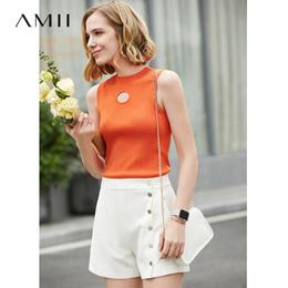 Amii极简港味性感心机背心女2019夏季新款修身半高领镂空显瘦上衣