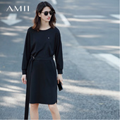 Amii[极简主义]2017春装新品飞机装饰配腰带系带卫衣裙11720854