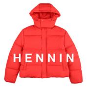 【HENNIN】女士宽松短款羽绒服 鸭绒服 冬季新款 黑色|红色|两色可选|bactory|100%专柜正品 HEJD74TW05