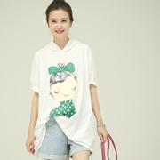 米可可 T602 韩版宽松连帽女孩印花薄款落肩帽衫白T恤女 2018夏