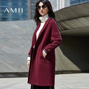 Amii[极简主义]2016冬新女大码翻领撞色条纹开襟毛呢外套11644396