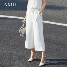 Amii[极简主义]2017春新款气质百搭显瘦薄款遮肚高腰九分阔腿裤女