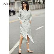 Amii[极简主义]2017夏新细条纹七分袖绑腰带长衬衫连衣裙11792904