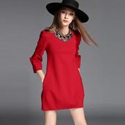 春季新款欧美高端女装时尚弹力修身宽松腰灯笼裙拼接直筒连衣裙女