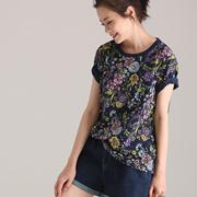 米可可  T2863 文艺大码圆领植物花卉印花薄款短袖T恤女 2018夏