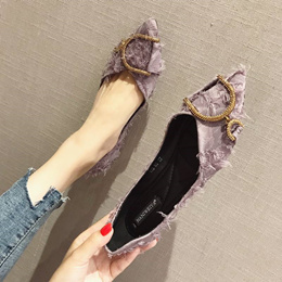 2018夏季新款韩版百搭小清新网红尖头单鞋女平底浅口瓢鞋船鞋女鞋