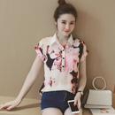 短袖雪纺衫女2016夏装韩版女装宽松水墨印花上衣复古开衫