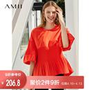 Amii极简洋气时尚韩版雪纺衫女2019夏季新网红泡泡袖收腹气质上衣