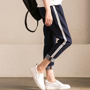 新品包邮 N919A 韩版纯棉侧拼接撞色条纹松紧腰直筒九分牛仔裤女