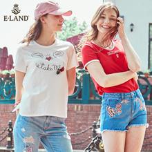 【eland】Summer new products|Printing tassels|Round neck|Short sleeve T-shirt|EERA77708I