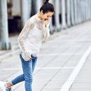 C8817 韩版洋气淑女百搭冬季配毛衣半高领长袖蕾丝打底衫女2019米可可