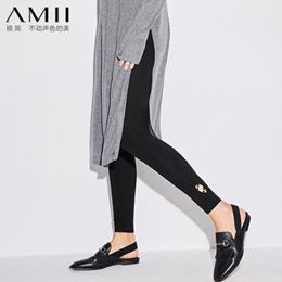 【买一送一】Amii[极简主义]2017秋装新品修身百搭印花弹力棉质打底裤11724648