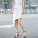 【特价】Amii[极简主义]2017夏季新款直筒斜襟暗扣拉链不规则半身裙女高腰