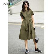 Amii[极简主义]夏装2017新款立领拉链短袖高腰A字连衣裙11772886