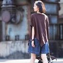 米可可 T8870 韩版简约圆领短袖纯色斜边纯棉百搭宽松T恤女2019