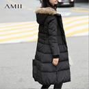 Amii[极简主义]冬装新款90绒大毛领连帽修身长款加厚羽绒服女