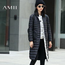 Amii[极简主义]2016冬POLO领字母织带拼接刺绣章长羽绒女11672022