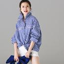 米可可  C9005 文艺大码小格子字母刺绣方领长袖长款衬衫女2018