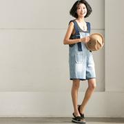 N9967B 韩版宽松显瘦水洗磨白撞色牛仔背带阔腿短裤女 米可可