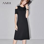 Amii[极简主义]2017夏装新款修身纯色圆领露肩收腰连衣裙11742566