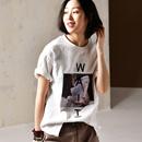 米可可 T0851 韩版大码圆领短袖字母印花纯棉打底T恤女2019春夏