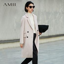 Amii极简欧货潮通勤西装羊毛呢外套女2018秋冬新款黑色宽松长大衣