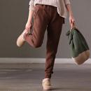 米可可  K2016 通勤韩版宽松百搭多色保暖棉裤松紧腰厚卫裤女冬