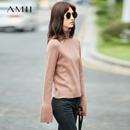 Amii[极简主义]罗纹高领毛衣女冬装2017新款修身纯色阔袖弹力上衣