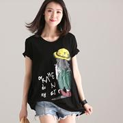 米可可 T1820 文艺大码圆领卡通印花中长款短袖大T恤女 2018夏