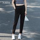 Amii[极简主义]2017春装新品运动休闲范松紧腰头锥形裤女11760741