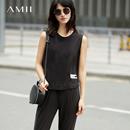 【特价】Amii[极简主义]2017夏装新款时尚休闲宽松背心九分裤套装11772824