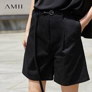 Amii[极简主义]2017夏女装新款大码宽松插袋配腰带休闲短五分裤黑