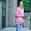 R2995 韩版高领侧拉链落肩长袖显瘦宽松百搭洋气粉色卫衣女2019米可可