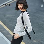 Amii2017春新女大码休闲长袖撞色拼接针织T恤11790768