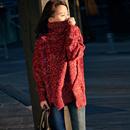 米可可  M3255A 文艺大码宽松显瘦花线中长款高领套头毛衣女冬
