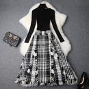 2019春季女装新款高领露肩修身针织衫+格纹不规则半裙两件套套装