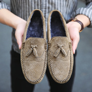 上匠风华  冬款 猪皮橡胶底 加绒款 男子豆豆鞋 休闲驾车鞋2805 标准皮鞋尺码