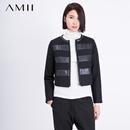 Amii[极简主义]冬PU拼接条纹短款大码棉衣女11571701