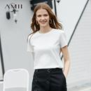 Amii极简欧货chic港风T恤2019夏季新款修身配抹胸两件套短袖上衣