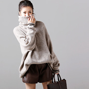 米可可  M8072 文艺大码高领中长款宽松加厚打底毛衣女 2018冬季